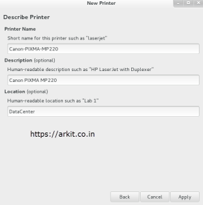 Add Printer Description and Click Apply