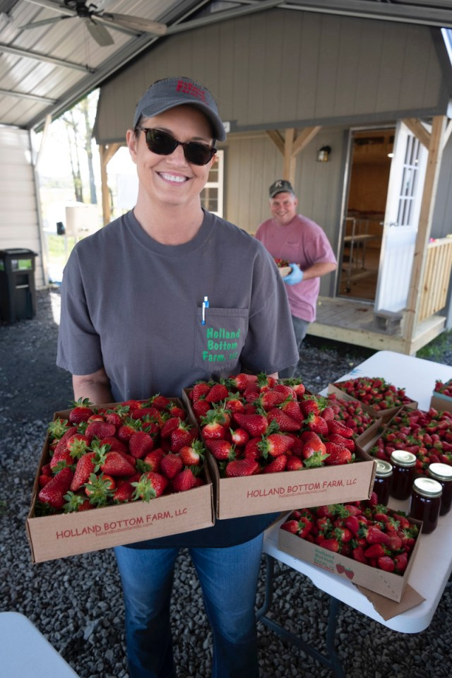 Picture of Leslie Odom of Holland Bottom Farm holding strawberries