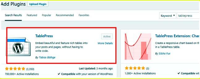 Draw Table in WordPress tablepress