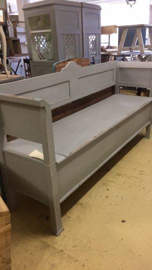 grey storage bench