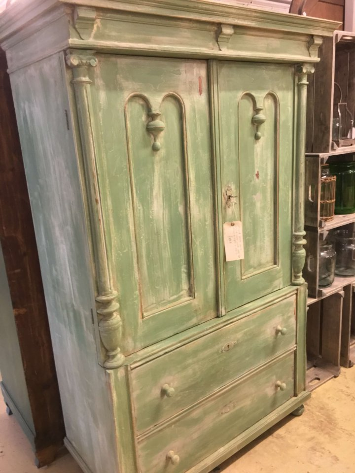 vintage French painted furniture armoire cupboard unit wardrobe