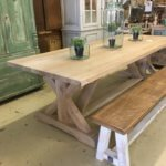 "Solid oak table with ""Union J"" base"