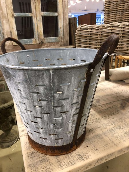 Metal Olive bucket £39 (£42 including P&P). These are galvanised steel body with rusted iron handles.