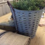 metal bucket olive bucket vintage