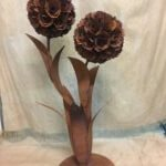 metal flower back in stock rusty industrial vintage very large