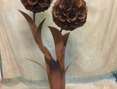metal flower rusty industrial vintage very large