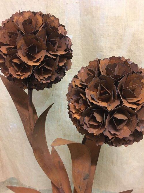 metal industrial flowers very large vintage