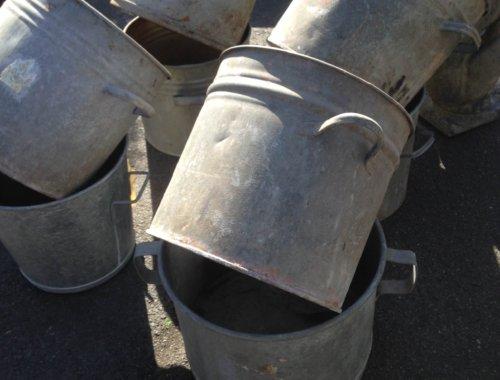 galvanised metal steel pots planters bins industrial vintage old