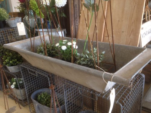 galvanised trough/planters bath planter metal industrial vintage