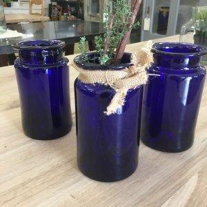 Vintage Blue Glass pickling Jars, jar, blue, handmade