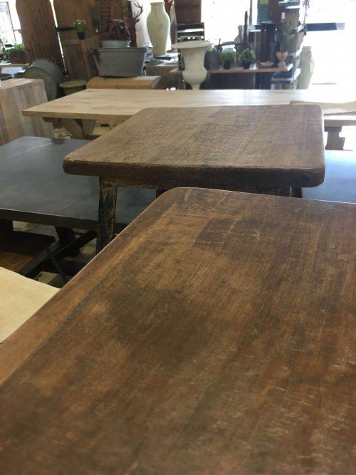 Metal stools, reclaimed wooden tops