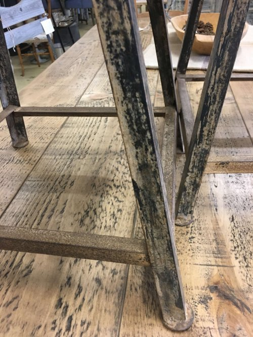 Metal stools, reclaimed wooden tops