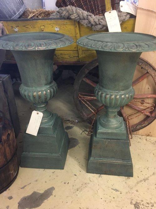 vintage Cast Iron green urns garden interior