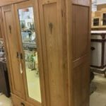 Vintage pine wardrobe with mirror
