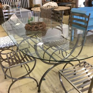 table, glass, metal, with chairs