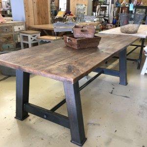 table Industrial metal base table. Steel base dark wax steel metal industrial