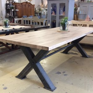 oak table steel industrial dining