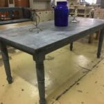 table vintage metaltop industrial