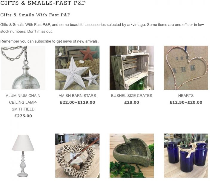 Gifts and small items fast P&P new page with a selection of gift ideas and smaller items to buy online now, with fast P&P