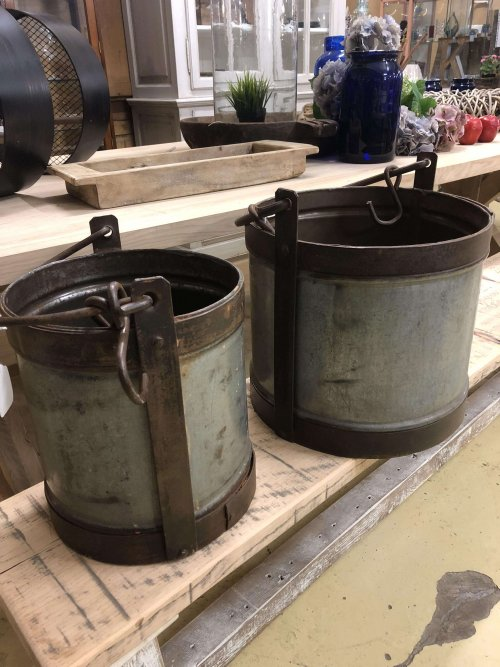 Vintage Metal Buckets Vintage Style Metal Buckets galvanised steel and wrought iron.