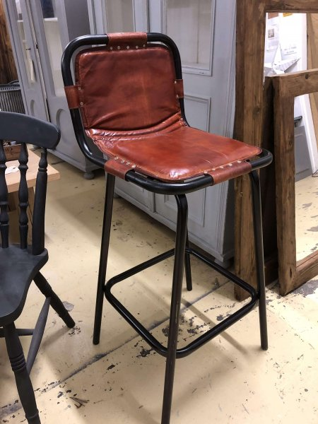 bar stools industrial metal leather