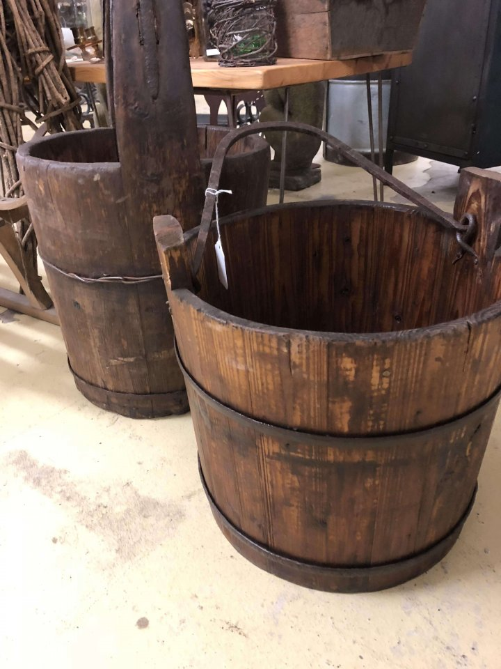 Wooden Buckets Back In Stock! vintage Please check the pictures these are beautifully made wooden buckets most with iron work on them