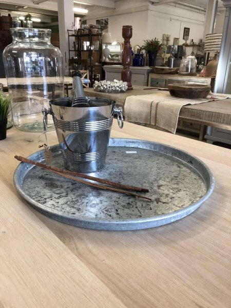 Metal Trays, Fabulous galvanised metal trays from a ski resort in the French Alps! 55cm diameter. circa 10 in store 26/01/18. Contact us for availability.