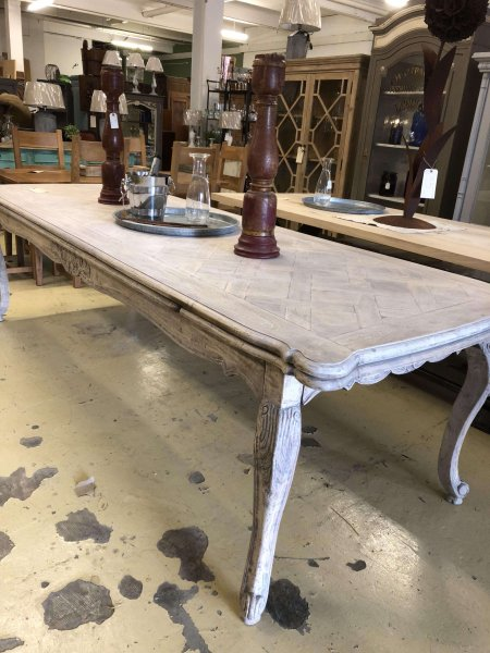 Very large extending oak table just arrived at arkvintage.com. An absolute stunner!