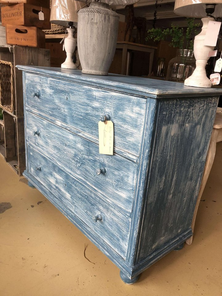 Vintage Large painted chest of drawers from France.