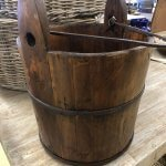 Vintage Wooden Bucket with cast iron handle.