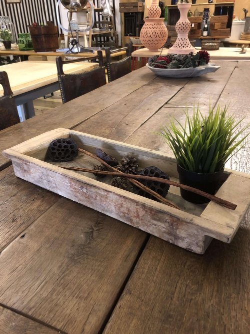 Vintage Wooden Dough Proofing Tray made from teak. Can be used for fruit or to make a display piece. See picture of the one with sand and tea light candles, stunning! Beautiful grain and patina.