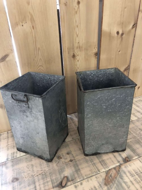 Vintage Galvanised Containers, these are a very unusual shape and a pair! They would make wonderful planters