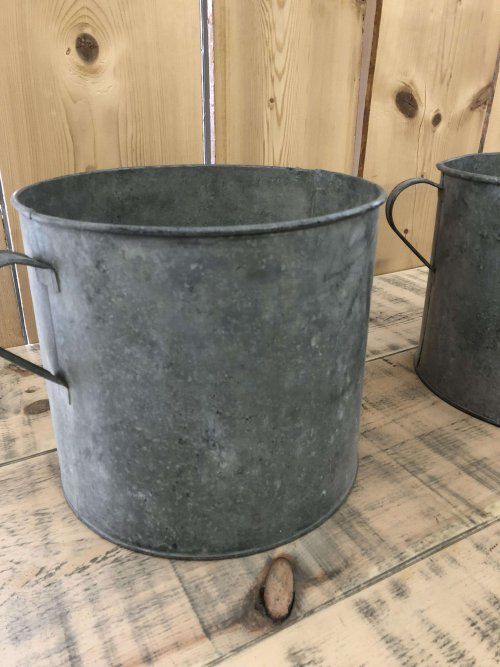 A matching pair of Vintage Galvanised Metal Pots . These containers make fantastic planters and could be used for kindling or as a little bin etc.