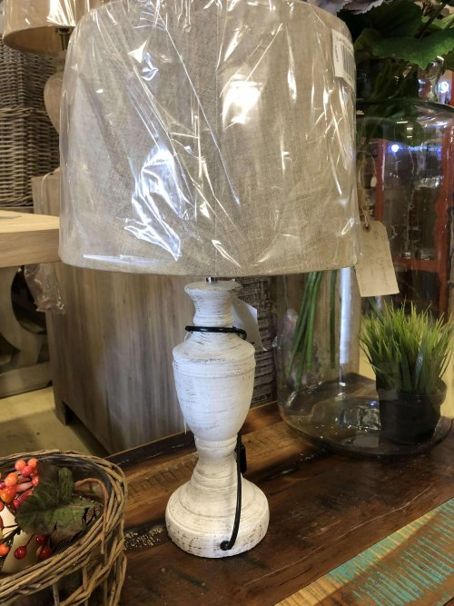 Lamp and shade available at arkvintage and online. Beautiful distressed white base, including shade. £39