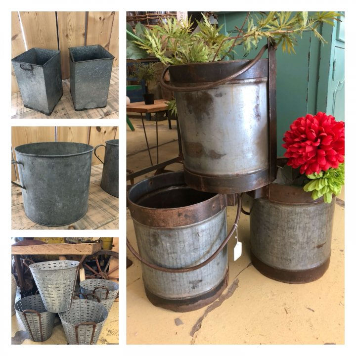 Vintage Metal Planters galvanised camberley Surrey shop market place buy now available to shop for now online. Lots more vintage inspired stock on our new page, click here to go there!