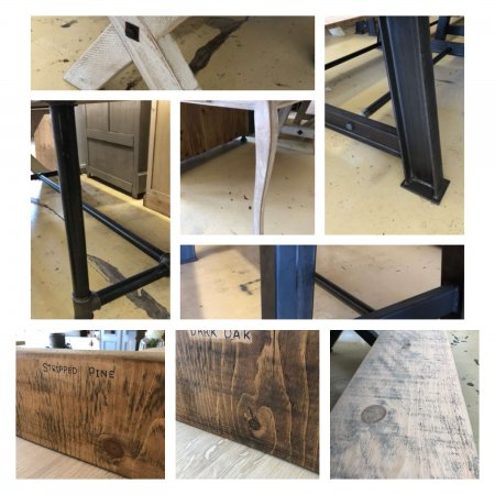 A selection of dining tables More Dining Tables Back In Stock. Vintage bespoke reclaimed industrial Fabulous range of tables some can be made to specific sizes for you, with a range of finishes for the tops. Others are one offs not to be missed... All in our huge old department store market place in Camberley Surrey