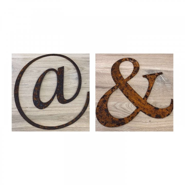 "Metal Letters Home Gardens we have a ""&"" and a ""@"" on arkvintage.com to shop and buy now. These are beautifully lazer cut from steel they have been left to naturally rust giving a rustic look. Perfect for home and or gardens."