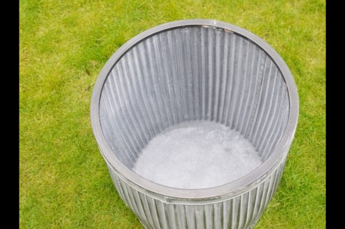 Galvanised Metal Planter Tubs from arkvintage. Classic ribbed planters in galvanised metal. Fabulous vintage look for your garden trees, plants or herbs etc. Available online now in 3 sizes