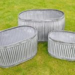 Galvanised Metal Planter Tubs free p&p Oval Now Online from arkvintage. Classic ribbed planters in galvanised metal. Fabulous vintage look for your garden trees, plants or herbs etc. Available online now in 3 sizes. vintage dolly tubs arkvintage camberley surrey buy shop online P&P