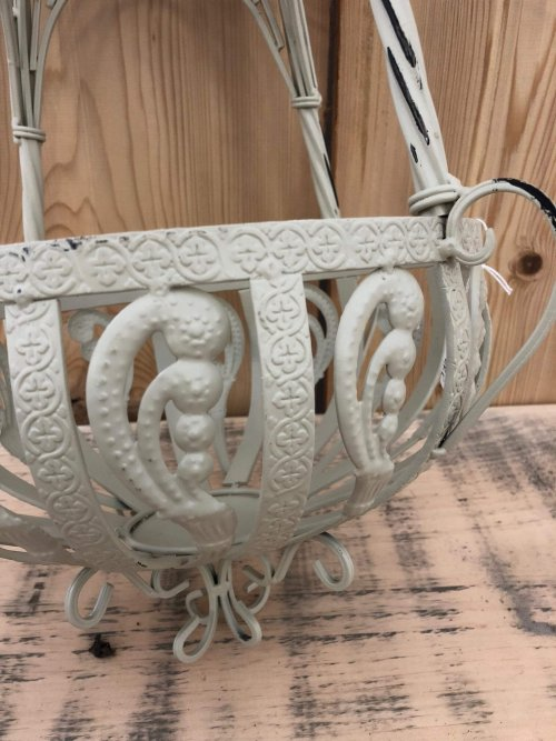 Hanging Baskets Metal from arkvintage. These baskets are well made from a good grade metal and painted in a rustic cream colour. Available online and in our Surrey store.