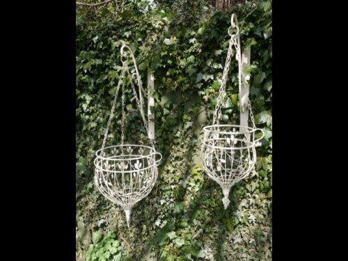 Hanging Basket Planters from arkvintage. Well made from metal they come in 2 different sizes and are finished in a rustic cream paint. Available online and in our Surrey store camberley shop buy online vintage