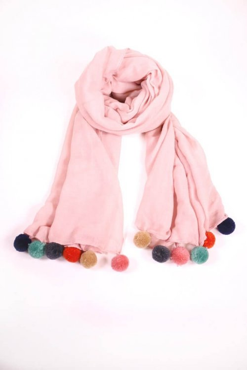 Scarf Pink With Pom Poms at arkvintage. Pretty in pink, you will look and feel great in this one. A real eye catching design with multi coloured pom poms. msh scarves scarf shop buy online in store camberley surrey