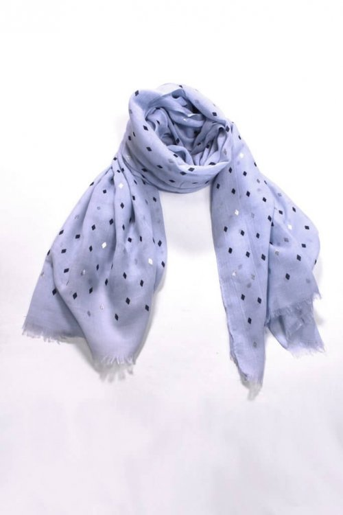 Scarf Blue Diamond Print msh at arkvintage. A blue scarf with beautiful navy and silver diamond print throughout. Shop and buy now online or in store, Camberley Surrey.