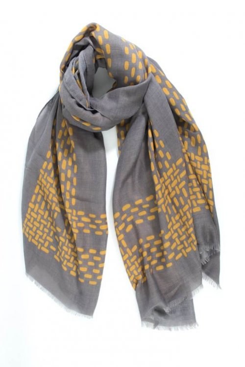 Scarf With Dot Block Design from arkvintage a more heavyweight scarf with a dot/block design border. Classic, smart and stylish. Available in 2 colours, see pictures for detail. grey mustard msh buy shop online in store camberley surrey