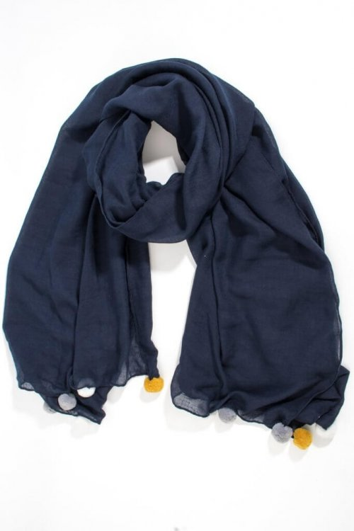 Scarf Large Pom Poms from arkvintage. This classic comes in navy blue and light grey with large contrasting pom poms. shop buy online or in store