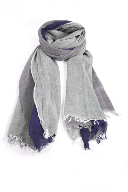 Scarf Trio Colour msh at arkvintage. A scarf with a trio of colours, including light grey, dark grey and navy blue. It has tassel effect ends. t home on the beach or at work! Buy online or in store, Camberley Surrey.