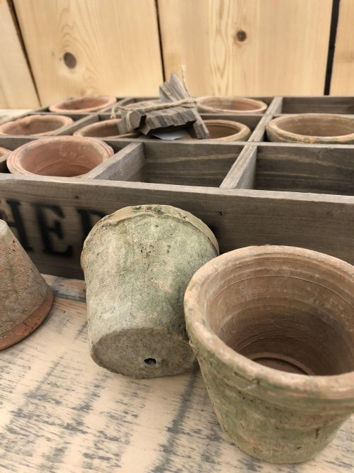 Herb Planter Tray Terracotta Pots from arkvintage. 12 terracotta pots in a wooden tray which can be planted Each pot has a wooden marker which could be written on. Buy online now.