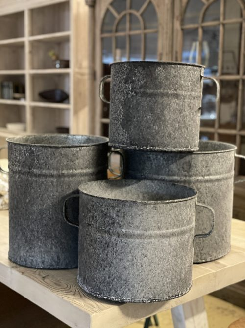 Galvanised Planter Pots 3 Sizes from arkvintage. Beautiful vintage look! These come in 3 different sizes now 4 sizesand are fantastic for planting, or as an ice bucket for beer and champagne shop buy now online or in store camberley surrey