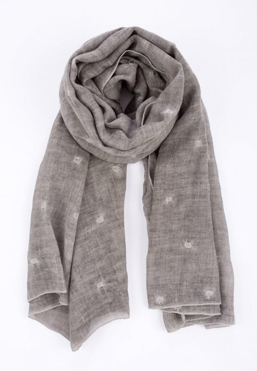 Scarf Embroidered Faded Grey msh at arkvintage. A lightweight, mid grey, washed organic look, scarf with an embroidered circle pattern throughout. Stunning random embroidered circle, ish!, design. Buy online or in store Camberley Surrey. msh