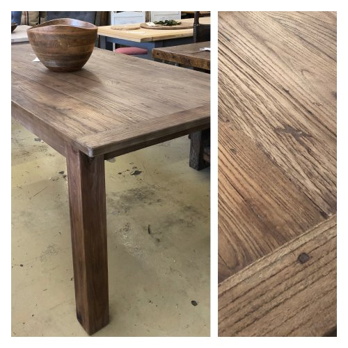 Reclaimed Dining Table New Stock, just arrived 180cm x 90cm square from reclaimed elm wood. Beautiful aged look. In store now.